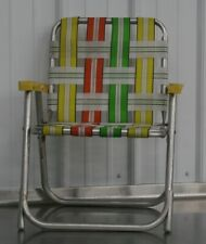 Vintage Mid Century Aluminum Child Size Folding Chair Lawn Patio Retro Yellow
