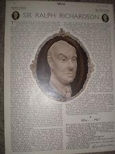 Article actor Sir ralph Richardson 1948 rf K