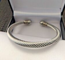 Mens Stainless Steel Chunky Twisted Rope Torque Ball End Bangle 6 mm, Xmas Gift