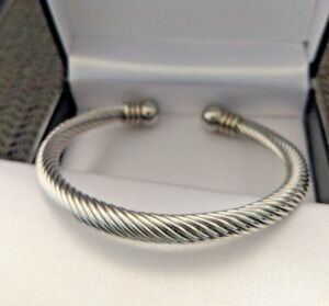 Mens Stainless Steel Chunky Twisted Rope Torque Bangle 6MM, Gift For Him UK