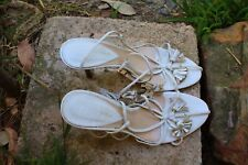 URBAN SOUL Leather  Sandal Style 9 cm Heel Open-Toe Floral Size 8