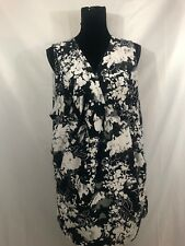 0acefec2592b5 Kiyonna Womens Size 3 Black White Floral Sleeveless Stretch Lined Dress