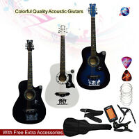 """CLASSIC 6 STRING 4/4 SIZE 38"""" ACOUSTIC GUITAR PACK BOYS GIRLS MUSIC GUITAR"""