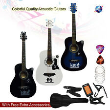 "CLASSIC 6 STRING 4/4 SIZE 38"" ACOUSTIC GUITAR PACK BOYS GIRLS MUSIC GUITAR"