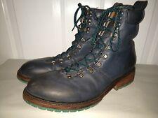 John Fluevog Men's Blue Leather Lace Up Boots Mens Size 12 Womens Size 14