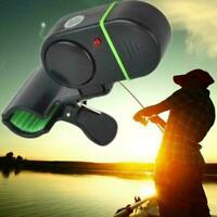 Black Electronic LED Light Fish Bite Sound Alarm Bell Clip Rod Fishing On P4H1