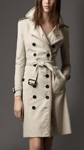 Burberry London Trench Coat Double Breasted Gabardine Rope Trim UK 10 IT 42