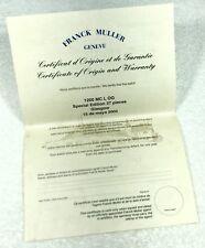 FRANCK MULLER 1200 MC L OG Special Edition 37 Pieces Certificate Origin Warranty