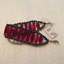 18cm handmade bracelet - Czechoslovakian glass beads (garnet, siam and iris) T4