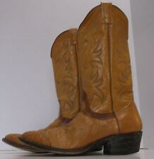 Nocona Cognac Full Quill Ostrich Boots, Size 10 1/2B, Handcrafted in the USA