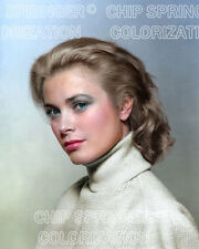GRACE KELLY IN A TURTLENECK SWEATER 8X10 BEAUTIFUL COLOR PHOTO BY CHIP SPRINGER