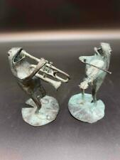 2 Brass Cast Frog Musical Band Instrument Play Frogs Violin Horn