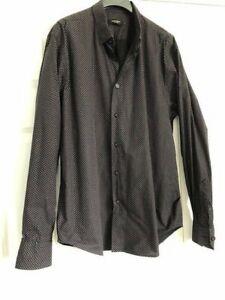 Holland Esquire Dark Brown Patterned 100% Cotton Shirt XL  - Excellent Condition