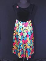 VERY RARE FRENCH VINTAGE 1950'S BLACK COTTON VELVET& RAYON PRINT DRESS SIZE 6+
