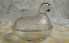 Vintage Indiana Clear Glass HEN ON NEST-Candy Dish, EASTER