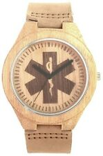 Wooden EMS Star of Life Watch with leather strap - Bamboo case & etched dial
