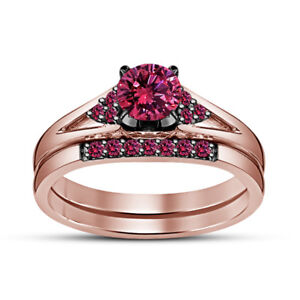 Round Pink Sapphire Women's Bridal Engagement Ring Band Set 14K Rose Gold Finish