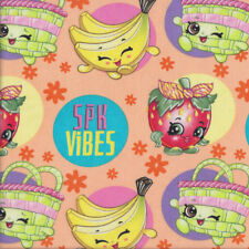 Shopkins on Apricot SPK Vibes Girls Licensed Quilting Fabric  FQ or Metre *New*