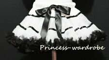White & Black Trim Pettiskirt Petticoat Skirt 1-8Y P29