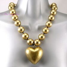 Grueso Antiguo De Oro Hinchada Heart Couture Collar de Declaración W Cristales Swarovski