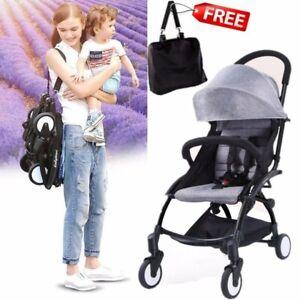 Grey Compact Lightweight Baby Stroller Pram Easy Fold Travel Carry on Plane 2020