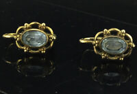 ANTIQUE EARRINGS SMALL LEVER BACK BLUE TOPAZ STONES ROLLED GOLD HALLMARKS C1900s
