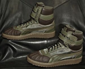 Puma green fabric w/green/brown synthetic casual  high top Men's sneakers size 9