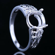 Popular! 8X7Mm Oval Semi-Mount Setting Engagement Wedding 10K White Gold Ring