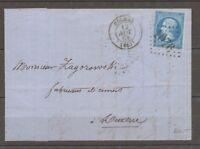1864 Lettre N°22 Obl CAD T15 GC1076 COLMAR HAUT-RHIN(66) TB. X1611