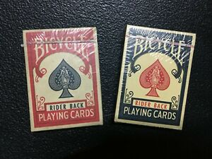 Vintage Mint 2 packs  Blue and Red Bicycle Rider Back Playing Cards  Ohio USA