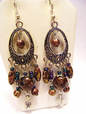 BROWN SHELL, GLASS  AND FEATHER  BEADED TIBETAN SILVER ETCHED PIERCED EARRINGS