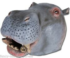 Mens Ladies Hippo Rubber Face Mask Animal Halloween Fancy Dress Costume Outfit