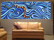 Sea Snake Aboriginal Art Painting Dots huge Authentic ocean By Jane Aussie