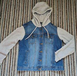 Ladies/older Girls blue Denim hooded jacket with grey sleeves & hood size 14 VGC