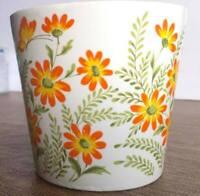 "Vintage 1970s Ceramic Flower Pot Planter Floral White Orange Green Butterfly 4"""
