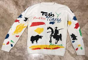 Rare Vintage Pablo Picasso Sweater Toros Y Toreros Luis Miguel Dominguez Horse S