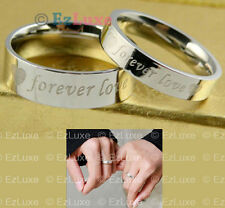 2 OPTION Forever Love Heart Couple Rings Set promise band PERSONALIZED NAME