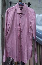 Brilliant Hugo Boss Long Sleeve Raspberry Stripe Shirt 39 15+1/2 Superb Condtion