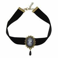 Gothic Necklace Victorian Lady Head Cameo Pendant Choker Black Velvet Ribbon