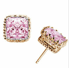 Chic Pink&White Zircon Stud Earrings 18k Yellow Gold Filled Engagement Jewellry
