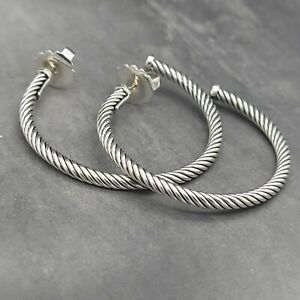 """David Yurman Classic Cable 1.5"""" Inch Crossover Hoop Sterling Silver Earrings"""
