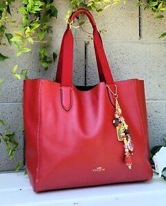 COACH 58660 derby red soft leather tote purse shoulder bag shopper handbag EUC