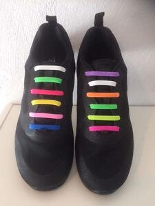 Silikon Schnürsenkel Elastisch Schuhband 12 Stück NEU bunt