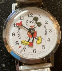 vintage mickey mouse swiss pie eyed bradley manual wind watch walt disney 015S