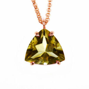Natural Citrine Pendant Chain Trillion Faceted Gemstone Yellow Rose Gold Plated