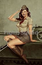 WW2 Picture Photo Pin up Girl in a Sherman Tank  2117