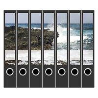 7 Ordner Etiketten Rücken-schilder selbstklebend Aktenrücken schmal Meer 1