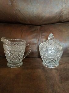 Vtg Clear Cut Glass Beautiful Sugar and Creamer Set Mint