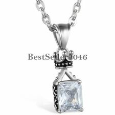 Vintage Stainless Steel CZ Imperial Crown Pendant Women's Men's Necklace 22""