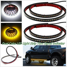 One Pair 48'' White&Amber 120SMD LED Car Truck Light Strip DRL Side Marker Lamps